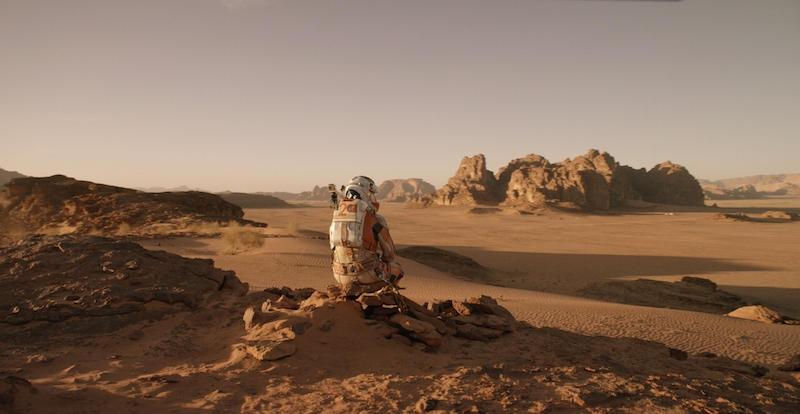 Mark Watney looking at martian landscape